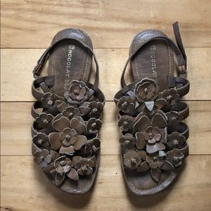 Anthropologie Leather Floral Sandals, size 8